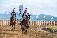 Horse parade during a horse show in with consummated horse riders. Horse parade during a horse show in Covasna county , Romania Stock Images