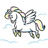 Horse Pegasus flying clouds cartoon illustration Stock Image