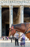 Horse and people in Pantheon square Royalty Free Stock Photo