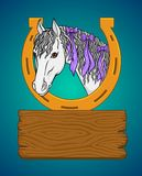 A horse and place for your text. Elements for design. Template frame design. Color white horse royalty free illustration
