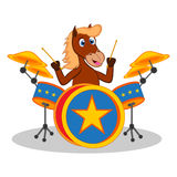 Horse playing drum cartoon Stock Images