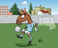 Horse playing soccer. Cartoon-style illustration: Cute young horse is playing soccer. He's wearing a light blue jersey.  Town on the background Royalty Free Stock Images
