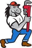Horse Plumber Kneeling Monkey Wrench Cartoon Stock Photo