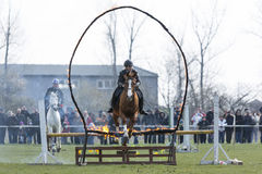 Horse police fire barrier jumping Stock Photos