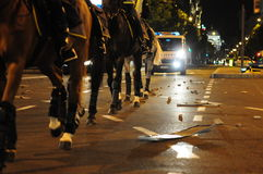 Horse police force. SERBIA, BELGRADE - MAY 29, 2011: Image of police riot horses during violent demonstrations Royalty Free Stock Photos
