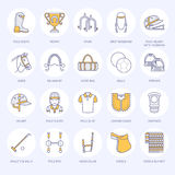 Horse polo flat line icons. Vector illustration of horse sport game, equestrian equipment saddle, leather boots, harness Royalty Free Stock Images