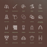 Horse polo flat line icons. Vector illustration of horses sport game, equestrian equipment - saddle, leather boots Royalty Free Stock Image