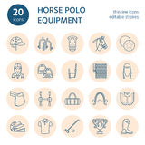 Horse polo flat line icons. Vector illustration of horses sport game, equestrian equipment - saddle, leather boots Stock Photography