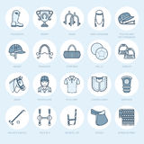 Horse polo flat line icons. Vector illustration of horses sport game, equestrian equipment - saddle, leather boots Stock Images