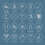 Horse polo flat line icons. Vector illustration of horses sport game, equestrian equipment - saddle, leather boots Royalty Free Stock Images