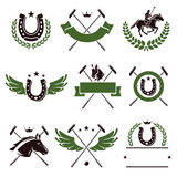 Horse and polo set. Vector. Mblem, retro, sign, animal royalty free illustration