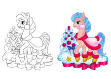 Horse pony girl christmas Royalty Free Stock Image