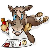 Horse and postcard. Highly detailed cartoon animal royalty free illustration