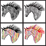 Horse. Print decor set Royalty Free Stock Image