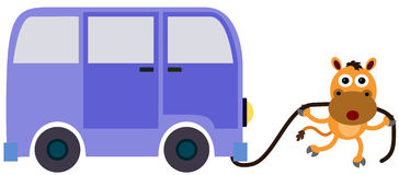 Horse pull. An illustration of a horse pulling a van with the use of a rope Royalty Free Stock Image