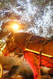 Horse Pulling a Carriage. A horse with different colored lights of the night reflecting off of it stock photo