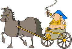 Horse Pulling A Chariot. This illustration depicts a man in a chariot being pulled by a horse Stock Photography