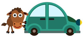 Horse push. A cartoon horse trying to push a car royalty free illustration