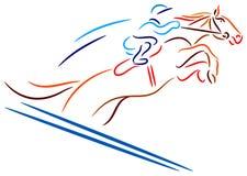 Horse race. Isolated brush stroke image vector illustration