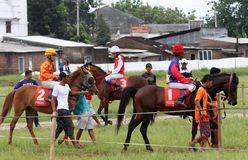 Horse race. Coaches prepare before attending a race horse in a field in Sukoharjo, Central Java, Indonesia stock photo