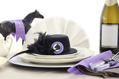 Horse Race Day Ladies Luncheon table setting. Stock Photo
