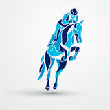 Horse race. Equestrian sport. Blue silhouette of racing with jockey Royalty Free Stock Image