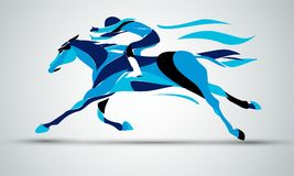Horse race. Equestrian sport. Silhouette of racing with jockey. Horse race. Equestrian sport. Silhouette of racing horse with jockey in blue colors on isolated stock illustration