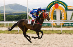 Horse race finish. PYATIGORSK,RUSSIA - JULE 06:Race for the prize of the Derby,Jule 06,2014  in Pyatigorsk,Northern Caucasus, Russia Stock Photography