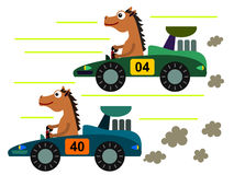 Horse on a race. A funny cartoon illustration of two horse having a car race Royalty Free Stock Image