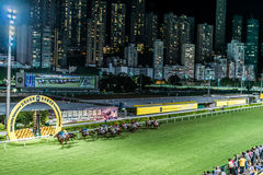 Horse race Happy Valley racecourse Hong Kong royalty free stock images