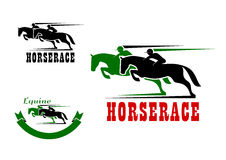 Horse race icons and equestrian sport Royalty Free Stock Image
