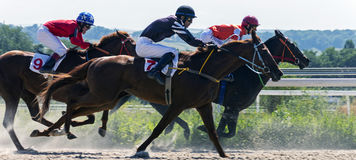 Horse race in Pyatigorsk. PYATIGORSK,RUSSIA - AUGUST 13,2017: Horse race for the traditional prize of Big Summer- the oldest and the largest racecourses in Stock Photos