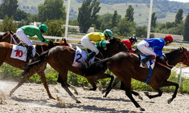 Horse race in Pyatigorsk. PYATIGORSK,RUSSIA - AUGUST 13,2017: Horse race for the traditional prize of Budennogo- the oldest and the largest racecourses in Russia Stock Photography