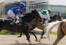 Horse race in Pyatigorsk. PYATIGORSK,RUSSIA - JULY 16,2017:Finish horse race for the traditional prize of the Absenta - the oldest and the largest racecourses in Stock Photo