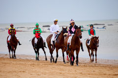 Horse race on Sanlucar of Barrameda, Spain Stock Images