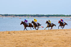 Horse race on Sanlucar of Barrameda, Spain Stock Photography