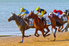 Horse race on Sanlucar of Barrameda, Spain Stock Images