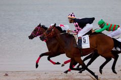 Horse race on Sanlucar of Barrameda, Spain, August  2010 Royalty Free Stock Images