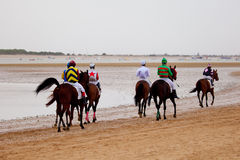 Horse race on Sanlucar of Barrameda, Spain, August  2010 Royalty Free Stock Photos