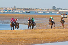 Horse race on Sanlucar of Barrameda, Spain Stock Photo