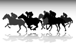 Horse race silhouettes Stock Image