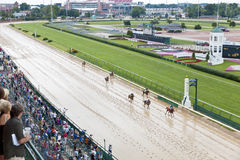 Horse races at Churchill Downs. Louisville, KY – June 18: Stephen Foster Day at Churchill Downs horse race track June 18, 2011 in Louisville, KY. Finish of Royalty Free Stock Image