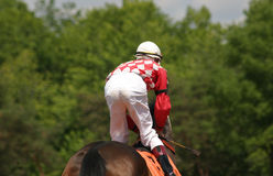 Horse Racing. Jockey slowing his horse down after the race Stock Photo