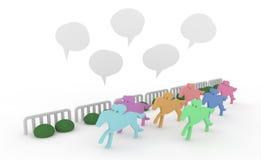 Horse racing. Seven horses running. Comments jockeys. Balloons at the races. Murmurs Royalty Free Stock Photo