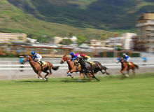 Horse racing. Typical horse race in Port Louis, every Saturday at the Champs de Mars, landmark race track in Mauritius with international jockeys participating Stock Image