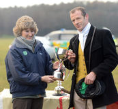 Horse Racing. C/Sgt bob skinner on rock captain winning the somerville livingstone-learmonth trophy (first overall) the yeomanry ride 1-12-12 being presented Stock Photos
