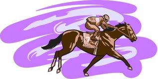 Horse Racing. A digital illustration of jockey riding a race horse Stock Photos