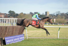 Horse Racing. American 1st seen here jumping out in the country at warwick 14-1-17 Stock Photography