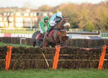 Horse Racing. Another venture 1st seen here jumping the last at sandown 4-2-17 Stock Images
