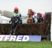 Horse Racing. Balder succes (green-red) jumps the last on his way to winning at aintree,liverpool 5-4-14 Royalty Free Stock Photo